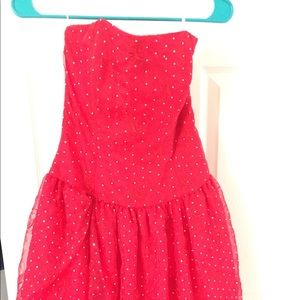 Lovely red Jessica McClintock prom dress.